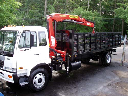 Palfinger PK12000 with 20' Rack Body on UD Cab-Over